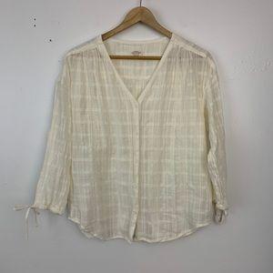 Garnet hill cream window pane blouse